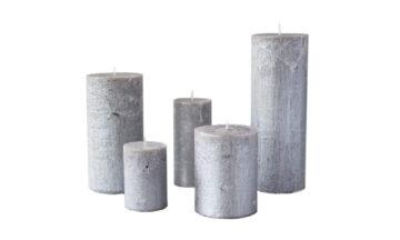 metalne hõbe01 360x216 - Свеча металлическая, серебристая - 5 размеров
