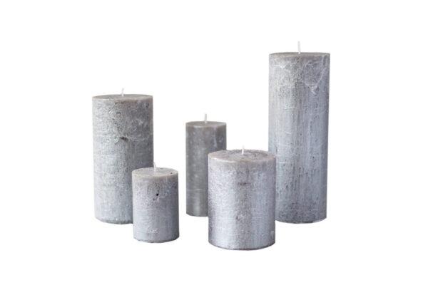 metalne hõbe01 600x407 - Свеча металлическая, серебристая - 5 размеров