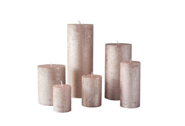 metalne roosa kuld01 600x407 - Свеча металлическая, розовое золото - 6 размеров